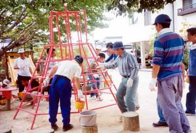 山口県私立幼稚園 PTA活動 お父さんのペンキぬり